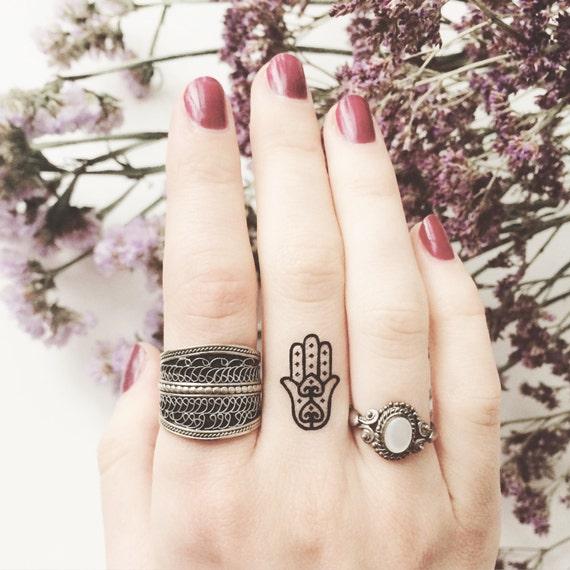 Set of 4 tiny fatima hamsa hand temporary tattoo wrist ankle for Temporary finger tattoos