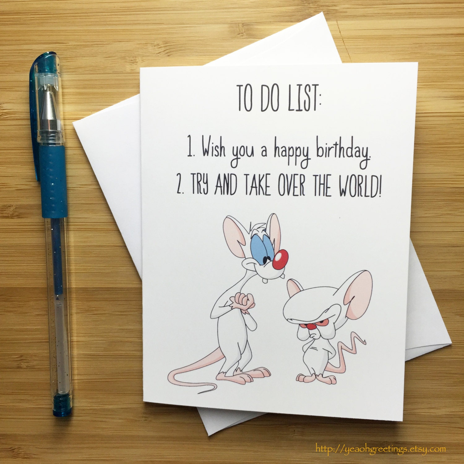 Funny Birthday Card Pinky and the Brain Animaniacs Birthday