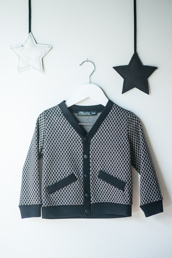ECUREUIL - long-sleeve cardigans with fakes pockets - black, diamonds print