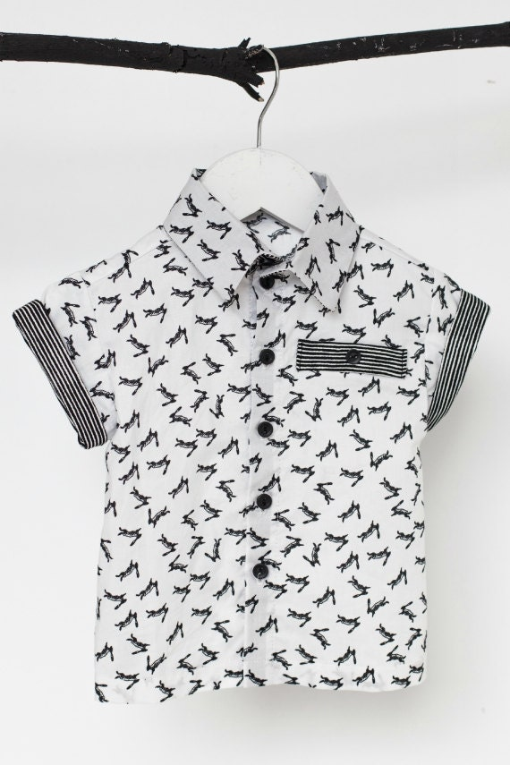BARBE À PAPA - short sleeves shirt avec fake pocket for kids - white with rabbits prints