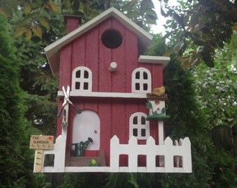 "Garden Shed Birdhouse with ""Tin"" Roof./Barn Red"