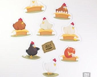 Chicken stickers, Hen stickers, stickers, farm stickers, animal stickers, chicken, cluck, cluck, bird, bird stickers, Gallina, ZWD002FARM