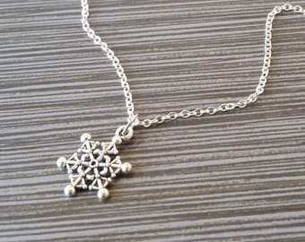Antique Silver Snowflake Necklace - Snowflake Charm Necklace - Personalized Necklace - Custom Gift - Holiday Jewelry - Christmas Necklace