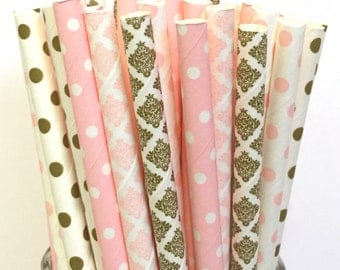 2.85 US Shipping -Pink & Gold Paper Straws - Gold and Pink Straws - Cake Pop Sticks - Drinking Straws -Pink, Damask, Light Pink
