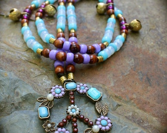 Equine Rhythm Bead Set Featuring Vintage BoHo Peace Sign Pendant and coordinating feathered mane beads
