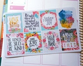 8 Motivational Quotes Volume 2 Full Boxes Planner Stickers  /EC  Vertical or Horizontal / Happy Planner Recollections