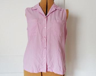 Silk candy pink sleeveless button-down