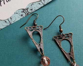 Art Nouveau style brass and crystal dangle earrings