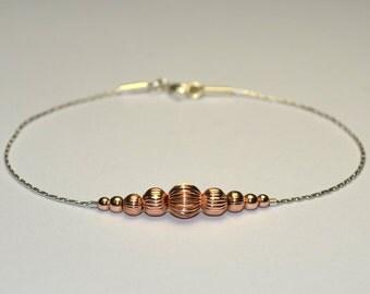 Gold BEADED BAR Bracelet // Beaded Bracelet - Sterling Silver Bracelet - Horizontal Bar Bracelet - Minimalist Bracelet