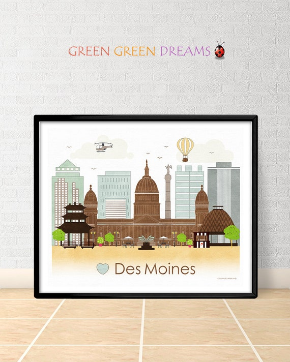 Des Moines Poster Print Wall Art Des Moines By Greengreendreams