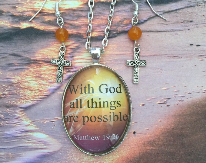 Orange and yellow Christian Jewelry Set, With God all things are possible, oval glass pendant with silver chain and cross earrings