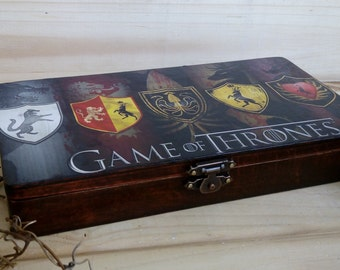 Game of Thrones box Gift for men wooden box Money box Gift for him Keepsake box Black Jewelry box Gift for fans Holder business card GoT