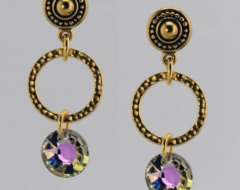 Gold Earrings with Green/Pink Crystals - E2386