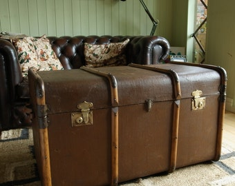 VINTAGE STEAMER TRUNK Coffee Table Storage Trunk 1930s Art Deco Travel Trunk Rustic Blanket Box Chest