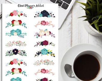 Floral Wreath Planner Stickers | Frame Stickers | Floral Stickers | Floral Borders | Flowers | Roses Stickers (S-175)