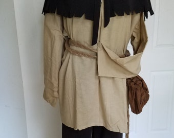 Renaissance Costume - Peasant Outfit with shoulder cape - Large