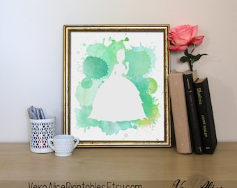 Princess Tiana Watercolor Disney Art Nursery Tiana Print Kids Bedroom Decor Beauty Wall Art Printable Baby