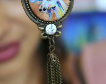 Hand painted unicorn cameo necklace
