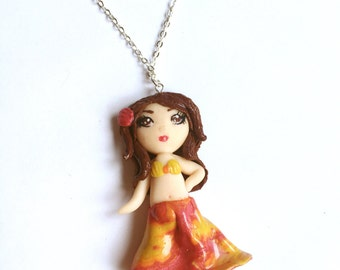 Polymer Clay Doll - Handmade Doll - Art Doll - OOAK Doll - Miniature - Clay Doll - Doll Necklace - Hawaii - Doll Jewelry - Doll Charm - Gift