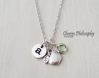 Personalized Teacher Necklace - Apple Charm - Antique Silver Jewelry - Monogram Initial and Birthstone