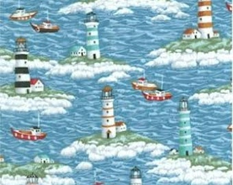Lighthouses and Boats Baby Crib Sheet by Dance With Joy Baby Bedding