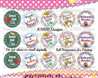 "INSTANT DOWNLOAD - Back to School - 1"" bottle cap designs - bottle cap crafts - bottle cap ideas - bottle caps for hair bows"