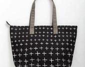 Black shoulder bag tote carry all, screen-printed crosses