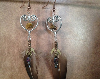 Feather and Tigers Eye stone