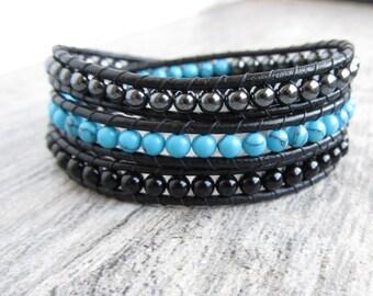 Hematite Bracelet - Turquoise Leather Wrap - Black Leather Wrap - Bohemian Wrap Stacking Bracelet - Hematite Beaded Bracelet