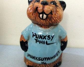 Punxsy Phil Groundhog Punxsutawney, PA Ceramic Figurine Groundhog Day Figure