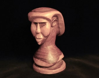 Wood bust of a woman--Outsider Art