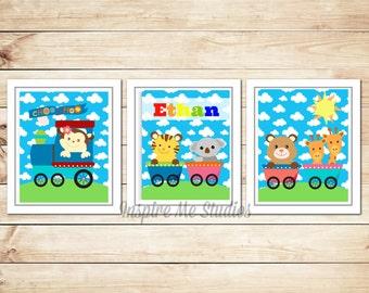 Personalized Train Printable Art / (3) 8x10 / Printable Art / Train / Children's Art / Train Printable / Personalized Train Printable