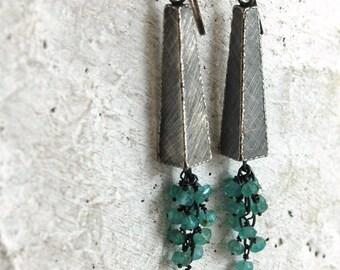 apatite silver earrings, apatite cluster earrings, apatite long earrings
