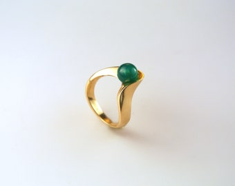 Gold Chrysoprase Ring - Green Gem Ring - Gold and Green Ring - Chrysoprase Gold