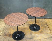 Pair Burke Fake Rosewood Formica & Black Saarinen style Tulip Teardrop Tables Mid-Century Modern