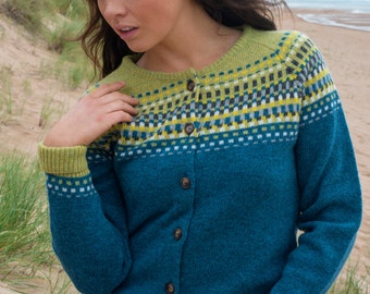 "Ladies fair isle ""building blocks"" cardigan - teal. Scottish wool."
