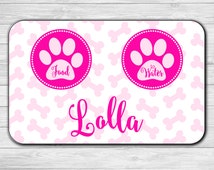 Custom Pet Mat - Pet Mat - Dog Food Mat - Pet Placemat - Personalized Pet Mat - Personalized Dog Mat - Cat Food Mat - Bone Pattern Food Mat