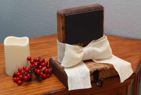 Rustic christmas stocking holder with chalkboard amp white burlap bow