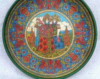 "Russian folk art.Wooden painted collectible plate, ancient Russian style, ""Three Russian girls""Vintage style"