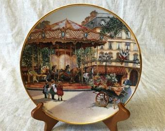 Limited Edition Franklin Mint Carousel Collectors Plate by Sandi Lebron, Carousel Enchantment, Paris Street Scene