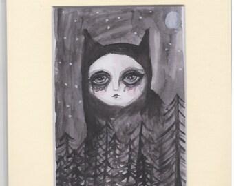 Cat, Dark, Surreal Art, Mounted Art Print