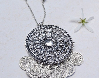 silver coin necklace, ethnic tribal fusion bellydance pendant, Silver mandala necklace, ethnic layering necklace, handmade ethnic  jewelry