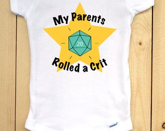 My Parents Rolled a Crit Onesie/ Gamer Baby Onesie/ Nerdy Baby Bodysuit/ Baby Shower Gift for Gamer Parents/ Dungeons and Dragons Onesie
