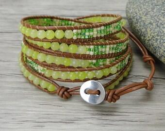leather wrap bracelet Lemon jade bead bracelet Boho gemstone bracelet yoga bracelet women leather bracelet gypsy seed bead bracelet SL-0293