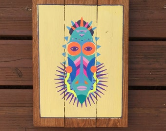 Africanism - 1 table/2visages - painting on wood recycled pallet - made hand - made in France - custom and customizable