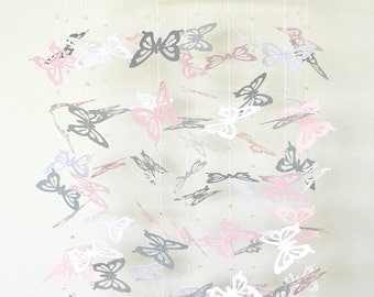 Butterfly Mobile - Baby Girl Mobile - Pink and Grey Nursery Decoration - Crib Mobile - Butterfly Crib Mobile - Nursery Mobile Girl
