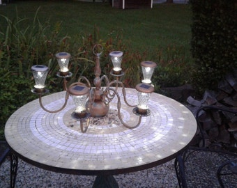 Antique Brass Chandelier Lamp ReFurbished Into Outside Solar Hanging Garden Light! Must See! No Electrical Cord or Outlets Needed.