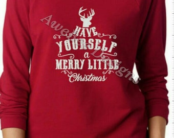 Have Yourself a Merry Little Christmas Terry Raw‑Edge 3/4‑Sleeve Raglan Tee, Xmas shirt, holiday party shirt, Christmas Sweater