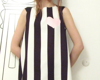 Sleeveless Top In Black & White Stripe/Asymmetrical Striped Sleeveless Tank Top/Printed Pink Heart/Stripe/Top by FabraModaStudio/FAB108
