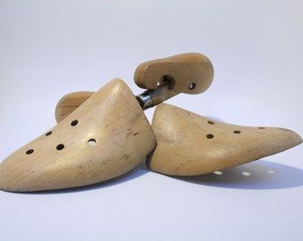Pair of vintage wooden shoe